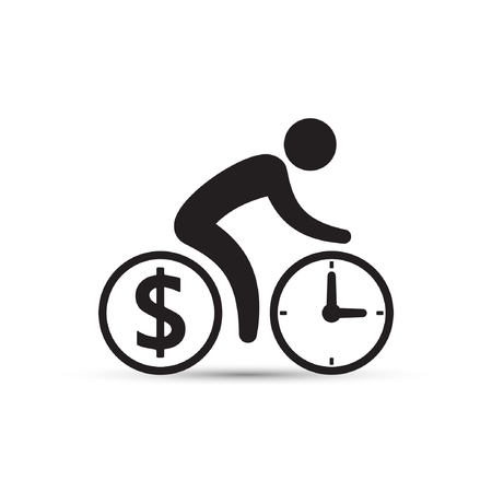 striving: Business concept, cyclist icon vector. Time is money concept. Bicycle wheels as a coin and clock. Simple isolated bicycle sign.