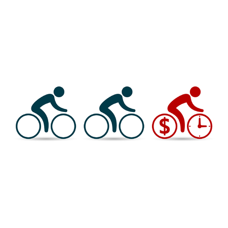 enterprising: Leadership business concept with cyclists following their leader. Vector illustration. Illustration