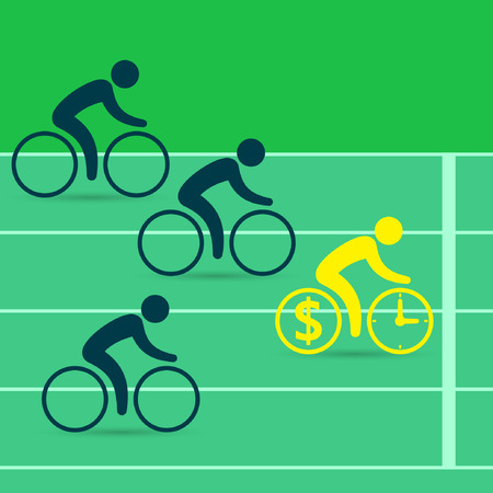 Cyclists race on bicycles. Leadership business concept. Business success concept. Vector color illustration.
