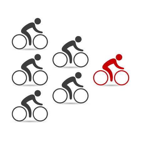Leadership business concept with cyclists following their leader. Vector illustration. Illustration