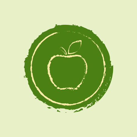 Apple logo badge, label or stamp in grunge style, vector isolated sticker. Illustration