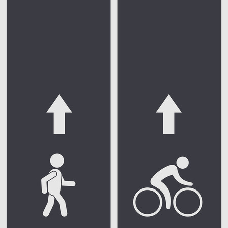 pedestrian walkway: Bicycle and pedestrian paths illustration, vector. Walking path and bike path with arrow.