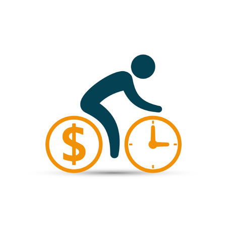 Business concept, cyclist icon vector. Time is money concept. Bicycle wheels as a coin and clock. Simple isolated bicycle sign.