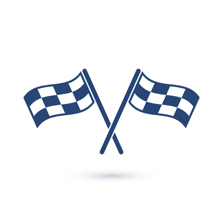 Checkered crossed flags icon, vector isolated simple sign.