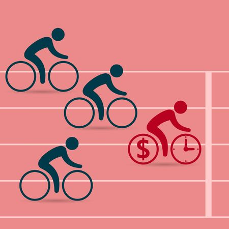 enterprising: Cyclists race on bicycles. Leadership business concept. Business success concept. Vector color illustration.