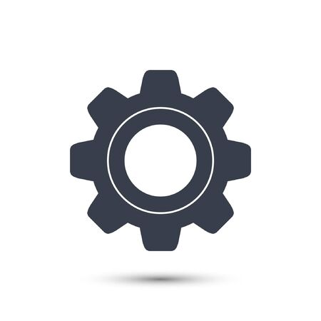 rackwheel: Gear icon simple vector isolated on white background.