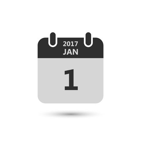 january 1: Calendar icon 1 january 2017 year isolated on white background. Calendar in flat style, vector.