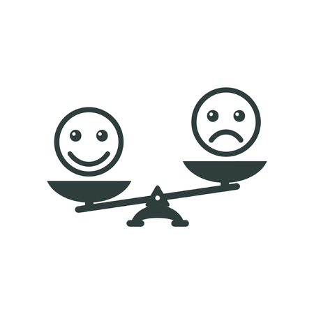 advantage: Smiley emoticons different mood on scales, vector icon. Positive attitude as advantage. Happiness versus sadness.