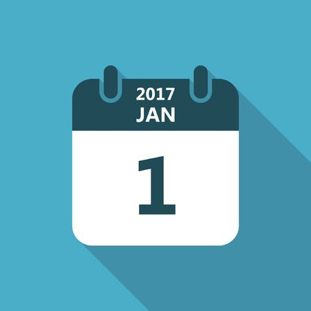 january 1: Calendar icon 1 january 2017 year with long shadow isolated on blue background. Calendar in flat style, vector.