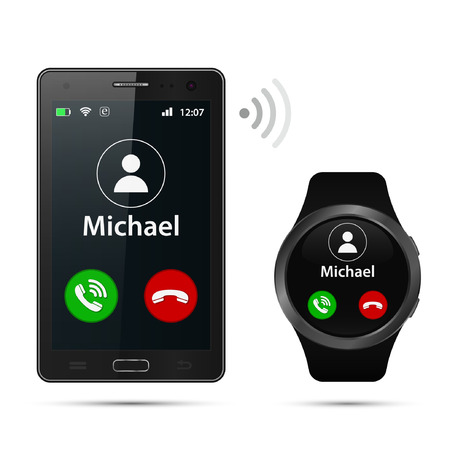 Realistic Smartphone and smartwatch with incoming call on display vector isolated illustration.