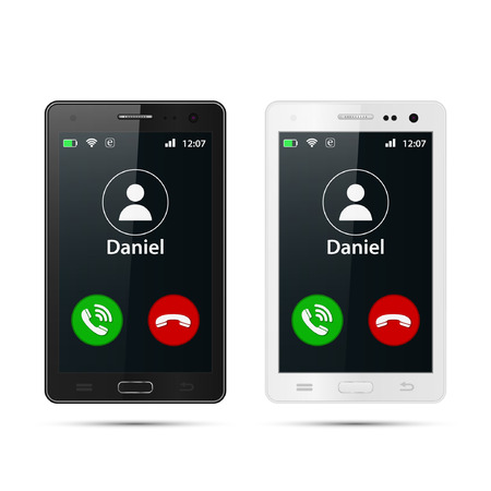 Smartphone incoming call on display vector isolated illustration.