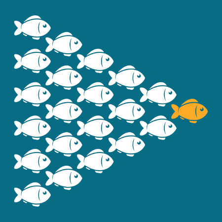 Leadership business concept with crowd fish following behind the leader. Vector illustration.