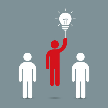 Businessman flying by the idea bulb above crowd. Business concept, vector illustration.
