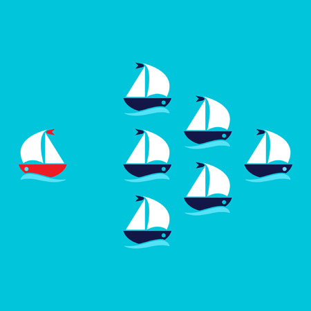 enterprising: Think different concept, red unique ship going to opposite direction. Vector illustration.