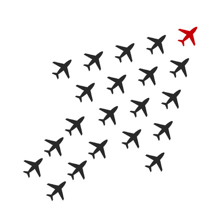 Leadership business concept with group of plane following behind the red leader. Vector teamwork illustration.