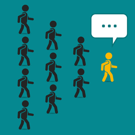 enterprising: Leadership business concept with crowd following behind the team leader. Vector teamwork illustration.