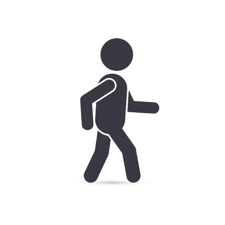 he is public: Walking man monochrome silhouette vector isolated illustration.
