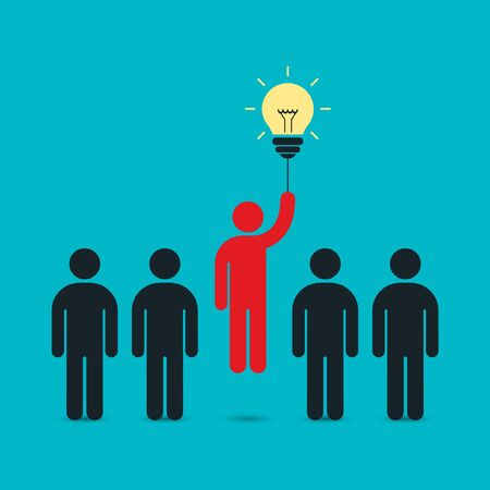 enterprising: Businessman flying by the idea bulb above crowd. Business concept, vector illustration.