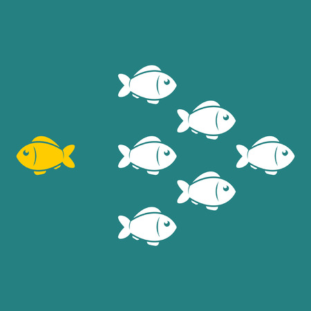 different thinking: Think different business concept, unique fish going to opposite direction. Vector illustration.