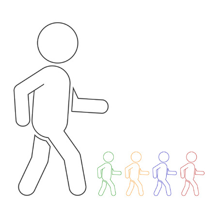 he is public: Walking man outline monochrome silhouette vector isolated illustration. Illustration