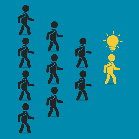 team concept: Leadership business concept with crowd following behind the team leader. Vector teamwork illustration.