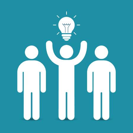 Líder del equipo con el concepto de negocio de idea. Ilustración vectorial