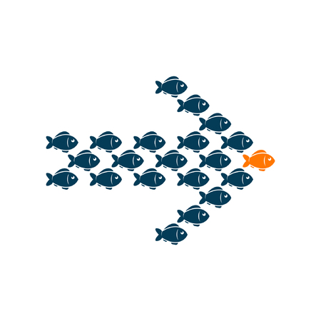 enterprising: Leadership business concept with crowd fish following behind the leader. Vector illustration.