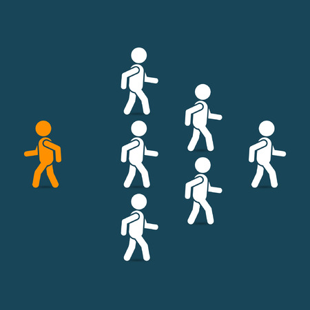 Think different business concept, unique man going to opposite direction. Vector illustration. Vettoriali