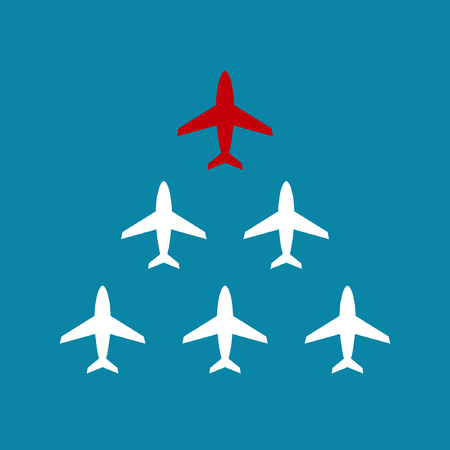 enterprising: Leadership business concept with airplanes following behind the red leader. Vector teamwork illustration.