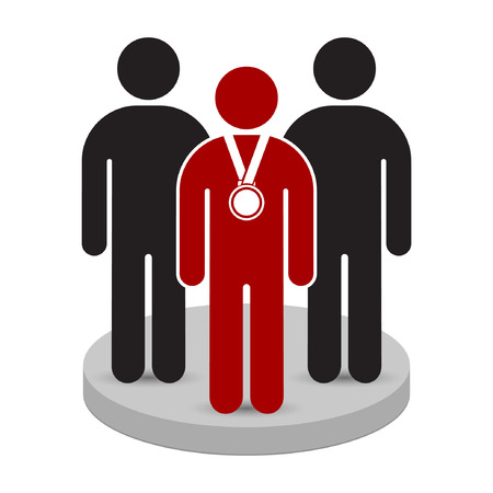domination: Teamwork business concept. Leader with medal reward in front of his team in podium. Vector illustration.