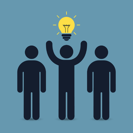 enterprising: Leader of team with idea business concept. Vector illustration.