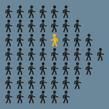 against: Think different business concept, unique man going to opposite direction. Vector illustration. Illustration