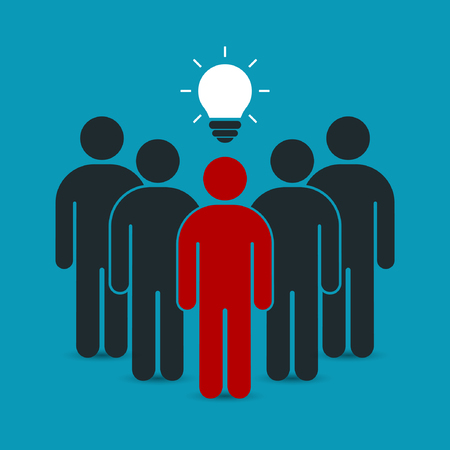 enterprising: Leader with idea in front of his team. Teamwork business concept. Vector illustration.