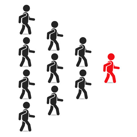 Leadership business concept with crowd following behind the team leader. Vector teamwork illustration.