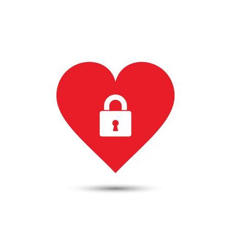 inaccessible: Heart lock icon, vector isolated valentine illustration.