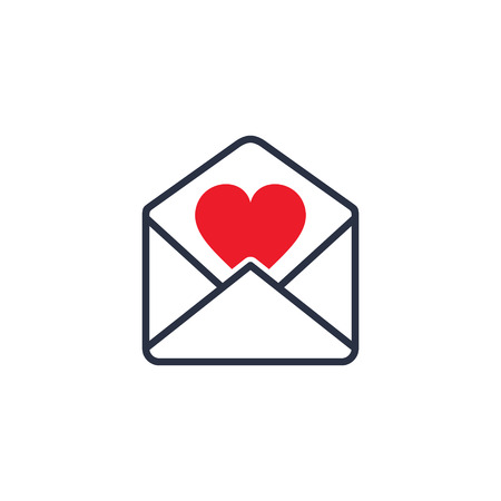 Envelope with Valentine Heart, vector isolated illustration.