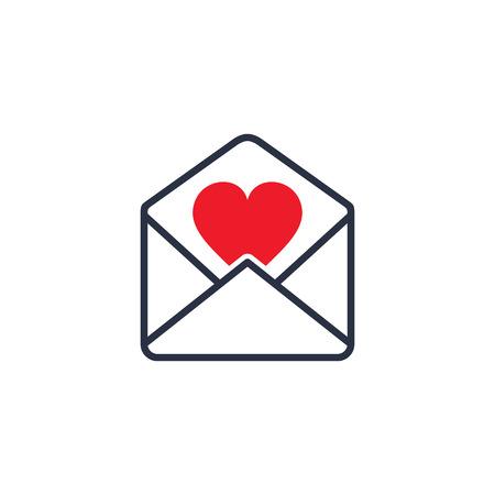 Envelop met Valentine Heart, vector geïsoleerde illustratie. Stockfoto - 68939635