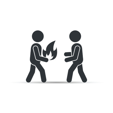 enthusiasm: Man giving fire icon, vector concept. People enthusiasm isolated concept.