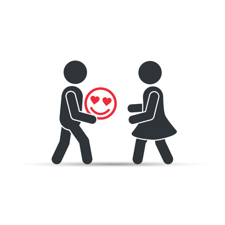 Man giving valentine smiley emoticon icon to woman, vector. Giving good mood concept illustration.