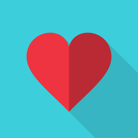 Heart Icon flat style with long shadow. Vector. Love red symbol. Valentines Day sign, isolated on blue background, graphic logo. Ilustracja