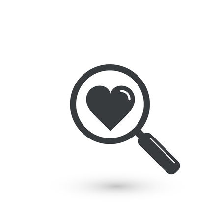 Search heart love icon, vector isolated symbol.