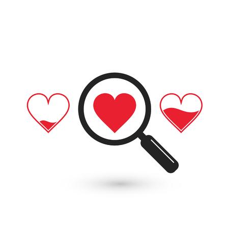 적합: 검색에 적합한 심장 사랑 아이콘, 벡터 고립 된 기호.