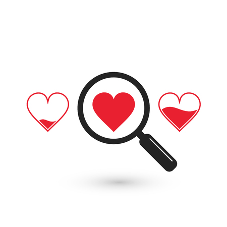Search suitable heart love icon, vector isolated symbol.