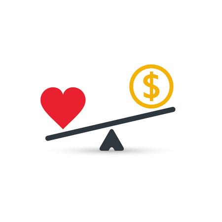 心とお金のアイコンをスケールします。規模でお金と心のバランス。愛とお金のコインの重み。ベクトル分離色記号。