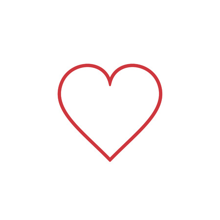 Heart Icon outline Vector. Love symbol. Valentines Day sign, isolated on white background, Flat style for graphic and web design, logo.