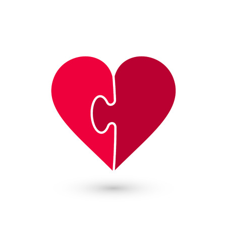 heart puzzle: Heart puzzle vector icon made of two pieces. Vector Valentines Day illustration. Illustration