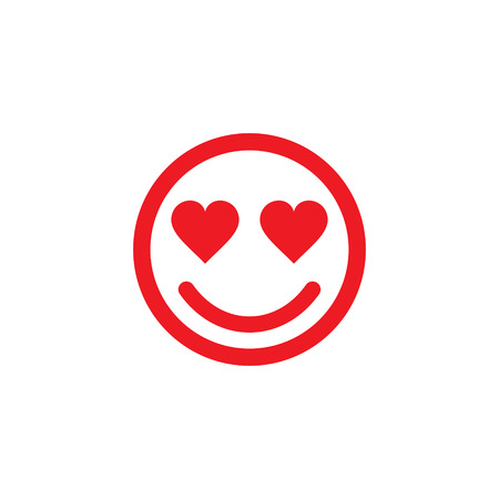 Smiley face in love line art icon for apps and websites