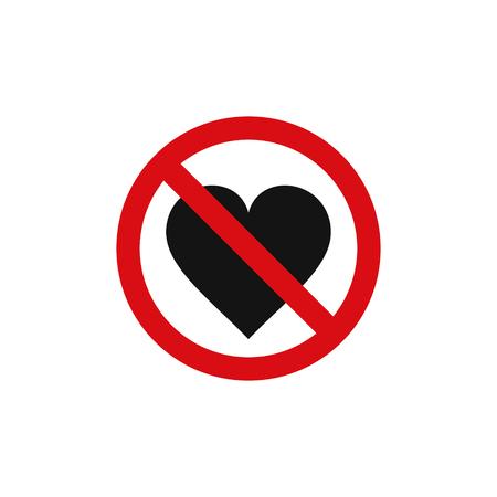 Ningún signo de amor corazón, vector símbolo aislado. Ilustración de vector