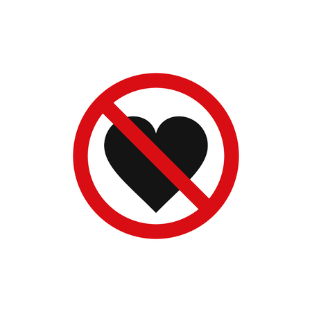 No love heart sign, vector isolated symbol. Illustration