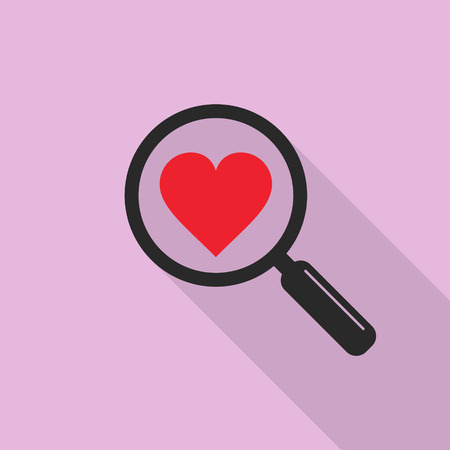 acquaintance: Search heart love icon in flat style with long shadow, vector isolated symbol. Illustration